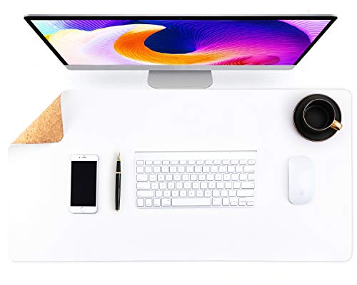 Almohadilla de escritorio de oficina de doble cara de corcho y cuero ecológico,alfombrilla de ratón,protector de escritorio para oficina/juegos en el hogar 80*40cm(Blanco)