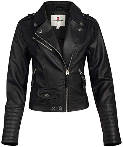 URBAN REPUBLIC Women Faux Leather Moto Biker Jacket with Studded Detailing, Size Medium, All Black