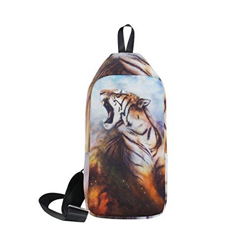 COOSUN Brüllender Tiger Sling Bag Schulter Brust Kreuz Körper Rucksack Leicht Casual Tagesrucksack für Männer Frauen
