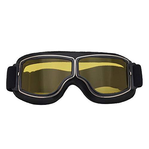 Harley Motorradbrille mit Lederrahmen,Anti-Fog UV-Schutz Motorradbrille Outdoor Mountain Motocross Brille Offroad Zubehör