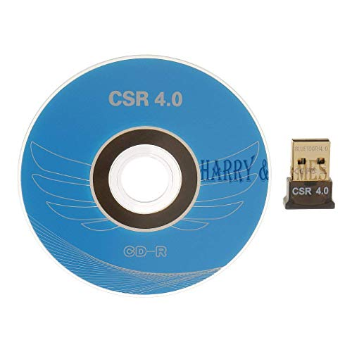 Harry & James™ USB Bluetooth Adapter, CSR 4.0 USB Bluetooth Dongle Receiver with All in One Driver CD, Gold Plated, for Laptop PC Computer Supports Windows 10 8 7 Vista XP