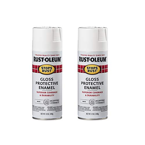 Rust-Oleum 7792830A2 Stops Rust Spray Paint, 2 Pack, Gloss White, 24 Ounce