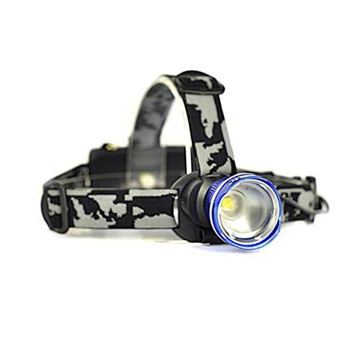 SUNSHIN T6 avec LED Trois Modes phares de Zoom Haute Puissance 3000lm tête Lampe de Poche 18650 Lampe de Poche Rechargeable de Chasse,Bleu