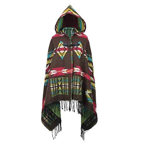 MeiPing Poncho Chal Con Capucha Mujeres Retro Borlas Chaqueta Capa Gran Tamaño Chal Bufanda Cover Up Calentar Otoño e invierno