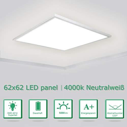[Pro High Lumen]OUBO LED Panel 62x62 Neutralweiß 4000K LED Deckenleuchte Ultraslim 36W 5000 Lumen Weißrahmen Pendelleuchte Wandleuchten für Küche, Keller, Büro, inkl. Netzteil
