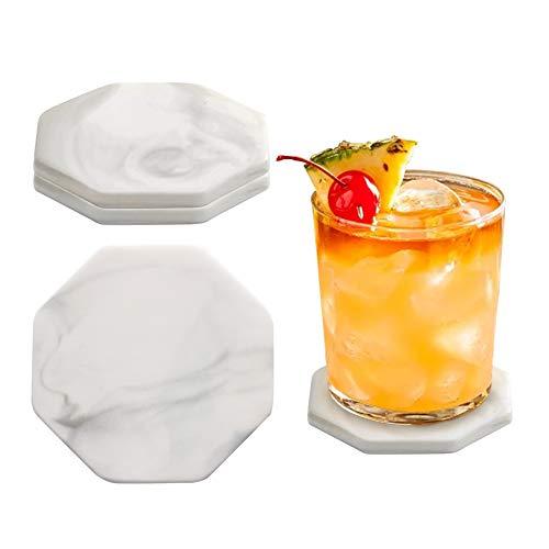 besbomig Set di 4 Sottobicchieri per Bevande in Ceramica, Sottobicchieri in Marmo per Tazze, Vasi, Candele - Regalo Grazioso per Amici e Parenti