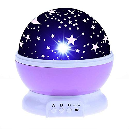 Veilleuse Starry Sky Night Light Planet Magic Projector Earth Universe LED Lamp Colorful Rotate Flashing Star Kids Baby Yx03-04-P-Pink