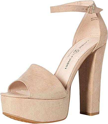 Chinese Laundry Women's Avenue 2 Heeled Sandal, Beige Suede, 7.5 M US