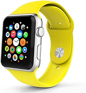 EliveBuyIND® Apple Watch Sport Band 42 mm, Nanotek Soft Silicone Replacement Strap For iWatch Bracelet, 3 piece band - Yellow (Apple Watch Not Included)