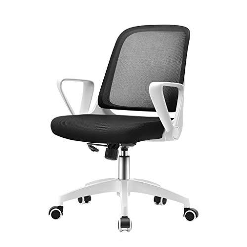Chaises de réception Fauteuils Chaise de Bureau avec Support Lombaire à Dossier Moyen, Chaise en Tissu Ergonomique avec accoudoir pour Ordinateur (Noir + Blanc)