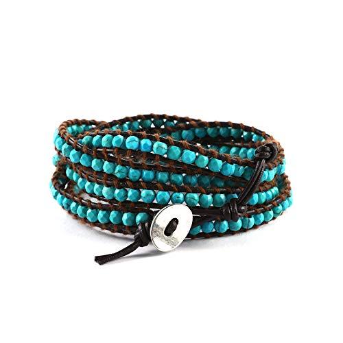 Boho Leather Handmade Natural Stone 5 Wrap Bracelets for Women Blue Turquoise Beads Bracelet Jewelry