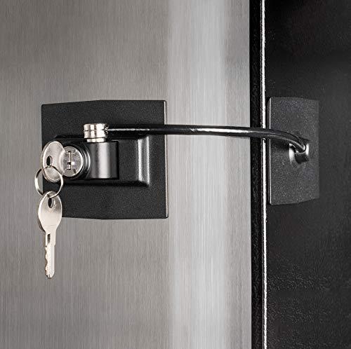 dorm refrigerator with locks Guardianite Premium Refrigerator Door Lock with Built-in Keyed Lock (Black)