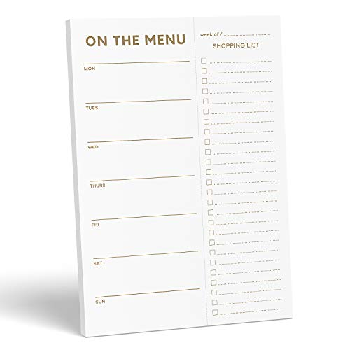 """Sweetzer & Orange Gold Meal Planner and Grocery List Magnetic Notepad. 7x10"""" Meal Planning Pad with Tear Off Shopping List. Plan Weekly Menu Food for Weight Loss or Dinner List for Family!"""