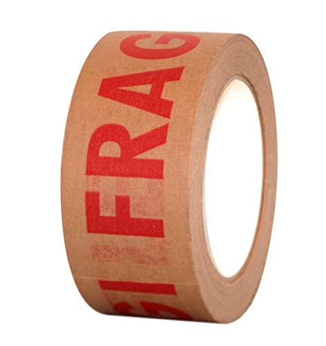 EMMEPACK – 6 cintas adhesivas de papel marrón – ECO-KRAFT impresión FRAGILE...
