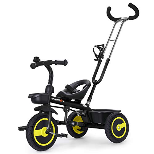 Fascol Kids Tricycle with Detachable Push Handle 3 Wheel Toddlers...