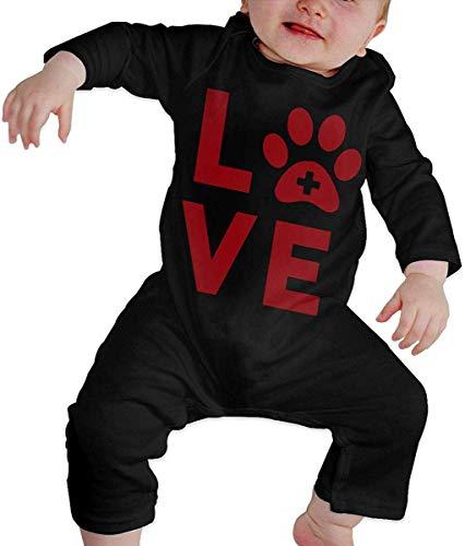 WlQshop Unisex-Baby Kurzarm Body, Love Vet Tech Paw Newborn Baby Long Sleeve Infant Cotton Bodysuits