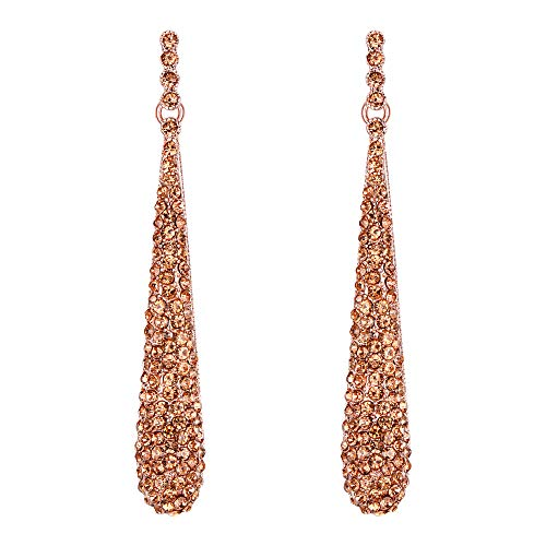 Pendientes Largos de Mujer - Clearine Aretes en Forma de Lágrima, Estilo Elegante Precioso Cristales para Boda Novia Fiesta