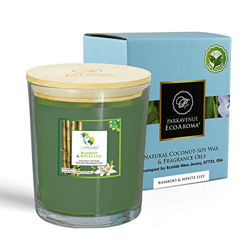 EcoAroma Bamboo & Lily Premium Scented Coco-Soy Jar Candles Organic Aromatherapy Candles Highly Scented Home Decorative Fragrance Gifts Hand Poured 2 Wicks 20 Oz