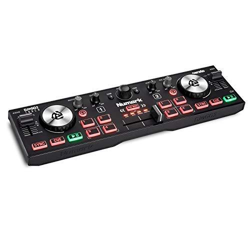 Numark DJ2GO2 Touch – Contrôleur DJ USB Compact pour Serato DJ avec 2 Decks, Table de Mixage DJ, Interface Audio / Carte Son et Jog wheels Tactiles