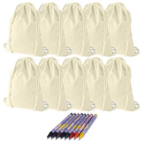 KET 10x Turnbeutel zum Bemalen inkl. Textilstifte - Gymbag - DIY Set zum Selbstgestalten - Kreatives Geschenk/Geburtstag/JGA