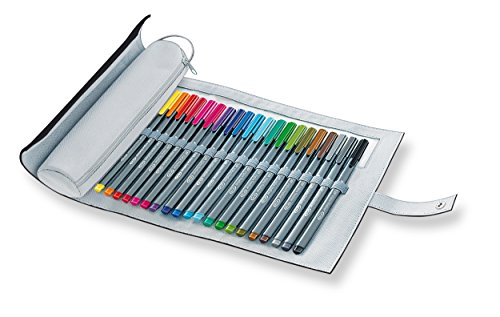 Price comparison product image Staedtler Triplus Fineliner 334 PC20-9 (Triangular,  Pink roll-up case with 20 Shining Colours,  Made in Germany,  Superfine,  Metal-clad tip,  line Width Approx. 0.3 mm)