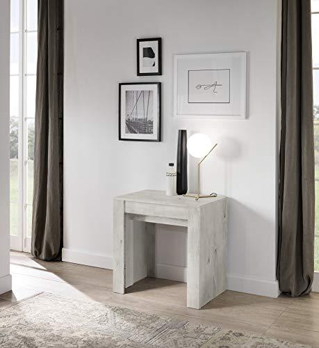 Tavolo consolle allungabile fino a 250 cm 79 x 54 x 78 cm Salvaspazio, Multiuso per cucina, sala da pranzo, soggiorno, zona living (Pino bianco)