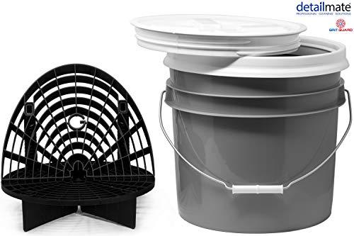 detailmate komplettes Wasch Eimer Set für die Auto Reinigung: US Gallonen Eimer 3.5 Gal (ca. 12,5 Liter), Gamma Seal Lid Deckel, GritGuard Schmutz Einsatz/Waschboard Grau + Waschboard