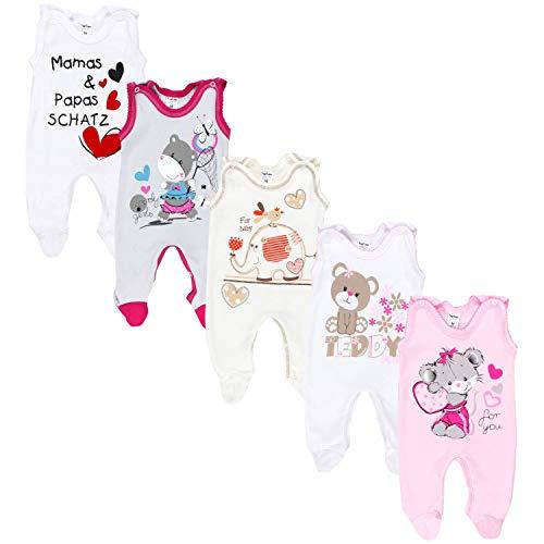 TupTam Unisex Baby Strampler mit Aufdruck 5er Set, Farbe: Mädchen 2, Größe: 74