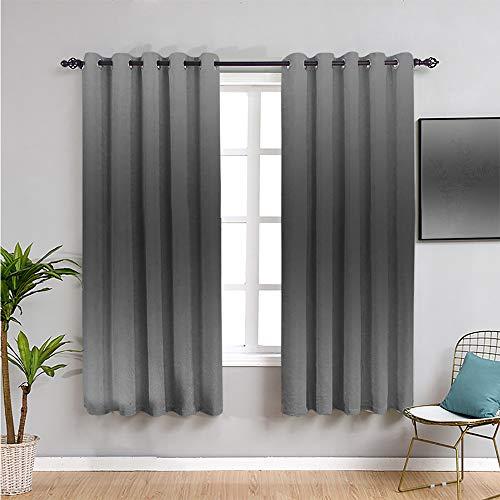 Cortinas de privacidad con estampado ombre, de 39 pulgadas de largo, con diseño de humo y niebla, inspirado en color gris, diseño moderno, impresión digital, cortina negra y gris de 137 x 96 cm