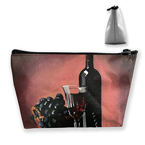 Botella de Vino Tinto Pintura al óleo Bolsa de Maquillaje Gran Bolsa de Viaje de Almacenamiento Trapezoidal Lavar Estuche cosmético Portalápices Cremallera Impermeable