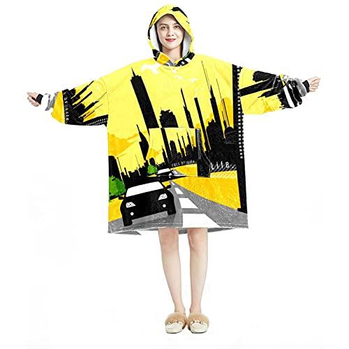 Manta con capucha, casual de microfibra suave, camisón cálido para hombres y mujeres con silueta de coche, diseños de conducción en la ciudad carretera