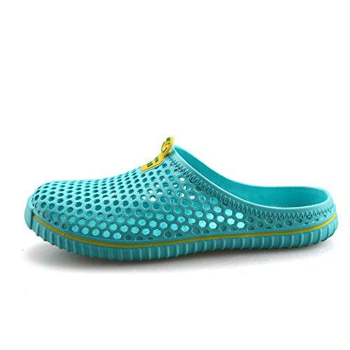 SAGUARO Clogs Atmungsaktiv Mesh Hausschuhe Sommer Hohl Latschen Gartenschuhe Freizeit Badeschuhe Strand Aqua Slippers Flach Pantoffeln Damen Herren,Blau 41 EU/Label 42