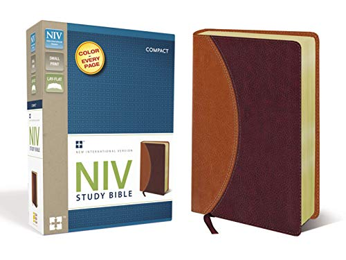 NIV Study Bible, Compact, Leathersoft, Tan/Burgundy, Red Letter