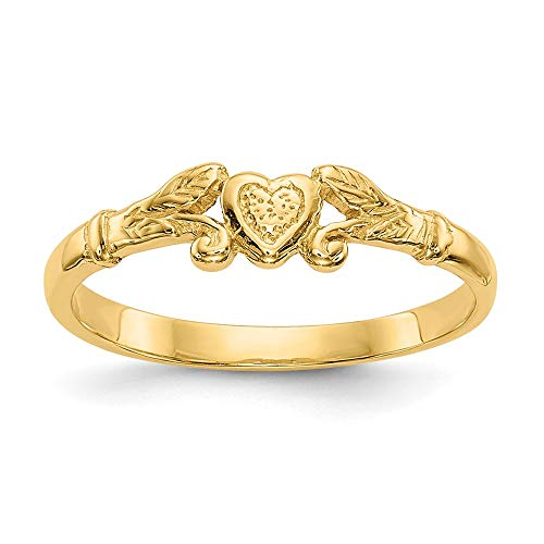 14k Yellow Gold Heart Baby Band Ring Size 1.00 Fine Jewelry For Women Gifts For Her