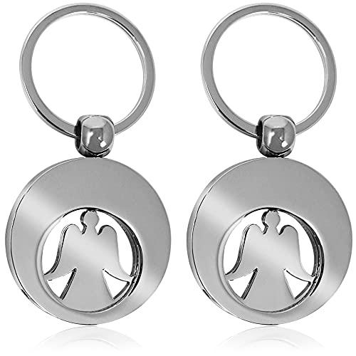 com-four® 2X Schlüsselanhänger Schutzengel mit Einkaufswagenchip, Engel mit herausnehmbarem Einkaufs-Chip für den Einkaufswagen (Doppelpack)