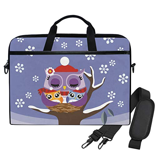 Emoya Laptopn Bag Owl Winter Snowflake Messenger Laptop Shoulder Bag Compatible 13.3-14 Inch Computer