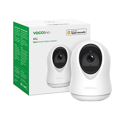 VOCOlinc HomeKit NUR 1080p WLAN IP Kamera WiFi Innen Überwachungskamera mit 355°/93° schwenkbare und 3 Megapixel Babyphone mit Bewegungserfassung Nachtsicht Zwei-Wege-Audio VC1 Opto (1 Pack)
