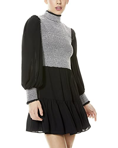 Alice + Olivia Women's Elvira Smock Bodice Tiered Dress, Black/White, 6
