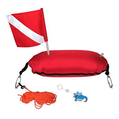 Milageto Boya de de Pesca Submarina Duradera Que Bucea con Esnórquel Llavero Flotante con Bandera - Naranja, Caballo de mar