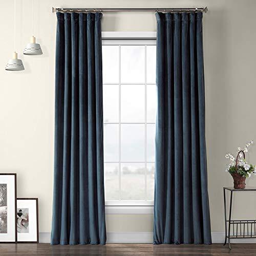 HPD Half Price Drapes VPYC-161270-108 Plush Velvet Curtain (1 Panel), 50 X 108, Avalon Blue