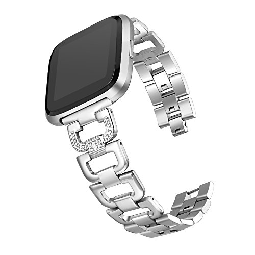 "bayite Bling Bands Compatible with Fitbit Versa/Versa 2, Stainless Steel D-Link with Rhinestones, Silver 5.5"" - 8.1"""