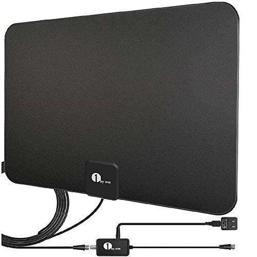 1 BY ONE TV Antenna - Digital Indoor HD TV Antenna with Amplifier Long Range-Support 4K 1080P Channels and All TVs-Coax HDTV Cable/AC Adapter-Included
