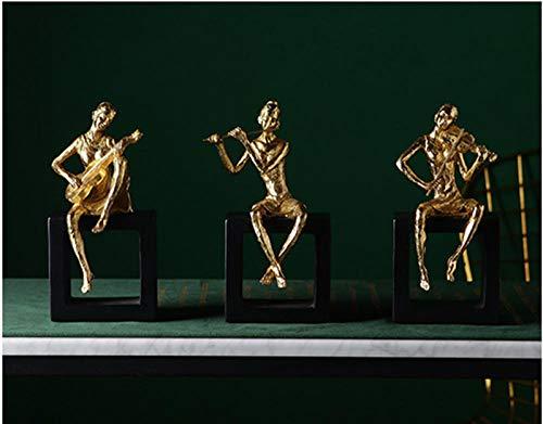 LOSAYM Dekoartikel Tierstatuen Gartenfiguren Goldener Geiger Musiker Resin Wohnkultur Kunst Dekoration Dekoration Handwerk Ornamente Statuen-A_As_Shown