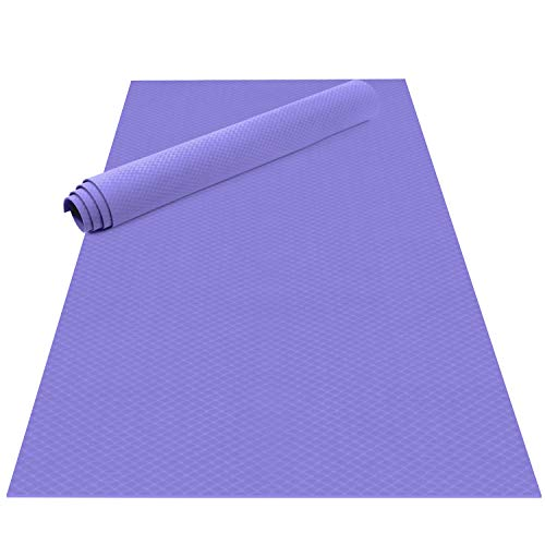 Odoland Esterilla de Yoga Grande 200 x 130 x 0.6 cm, Alfombrilla Deporte 6mm Grueso de Ecológico TPE, Antideslizante, Colchoneta de Pilates, Estiramientos, Gimnasia en Casa o en Gimnasio, Lila