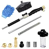 2021 Newest Extendable Hydro Jet Hose Pressure Washer Wand for Garden Hose, Jet Car Washer with Soap Dispenser and Car Wash Brush, Heavy Duty Metal Watering Sprayer with Universal Hose End, Black