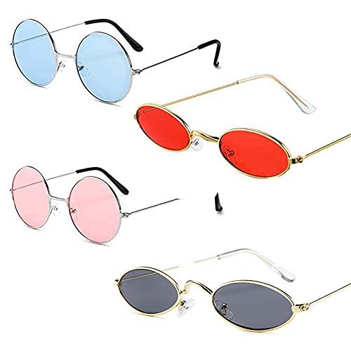 Sonnenbrille Mit Metallrahmen, 4 Stück Vintage Kleine Sonnenbrille, Amerikanische Sonnenbrille, Retro Metall Ovalen Europäischen Stil Ovale Kleine Sonnenbrille für Junge Und Mädchen Reisen, Selfie