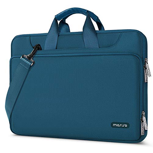 MOSISO 360 Protective Laptop Shoulder Bag Compatible with 13-13.3 inch MacBook Air, MacBook Pro, 13.5 Surface Laptop, Surface Book, Water Repellent Sleeve Case with Trolley Belt, Deep Teal