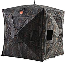 Black Hoof Outdoors Deluxe Hunting Blind, Ground Blind for Deer & Turkey, Pop Up Hub Design Tent with Stakes for 2-3 Person, Camouflage Screen and Adjustable Windows for Gun, Bow, & Photography