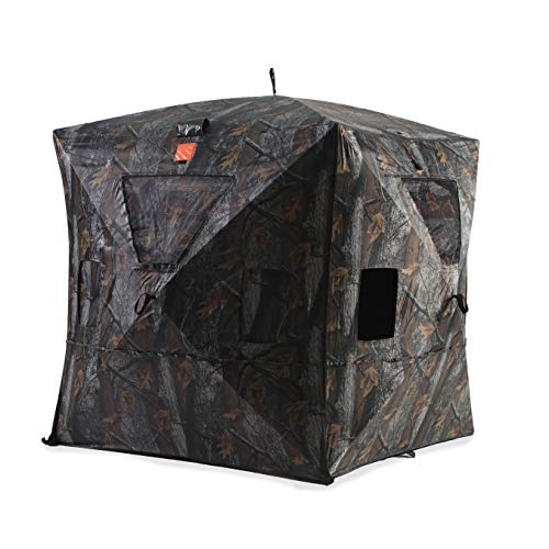 Black Hoof Outdoors Deluxe Hunting Blind, Ground Blind for Deer & Turkey, Pop Up Hub Design Tent with Stakes for 1 & 2 Person, Camouflage Screen and Adjustable Windows for Gun, Bow, & Photography