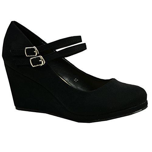 CucuFashion - Zapatos de tacón alto con plataforma de doble correa para mujer, talla 36 a 41, color Negro, talla 37 EU